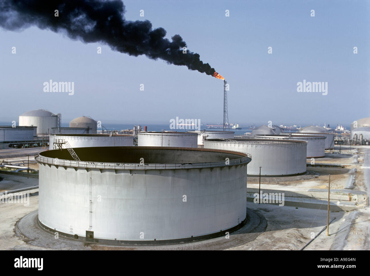 Saudi Arabia.Oil storage tanks at Ras Tanura.It is theHQ of SaudiAramco theAmerican co, set up atthe timeof King - Stock Image