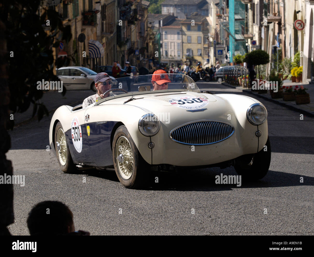 1955 Austin Healey 100S in 2005 Mille Miglia rally - Stock Image