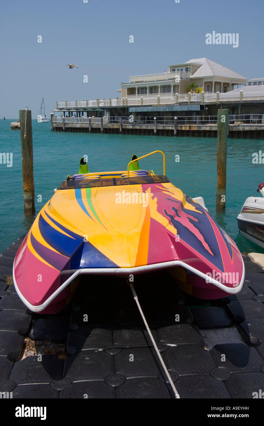 Colourful powerboat Key West - Florida - USA - Stock Image