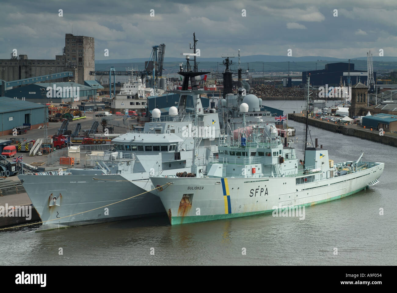 "The Scottish Fisheries Protection Agency vessel the ""Sulisker"" and ""HMS Tyne"" in Leith Docks, Edinburgh, Scotland, Stock Photo"