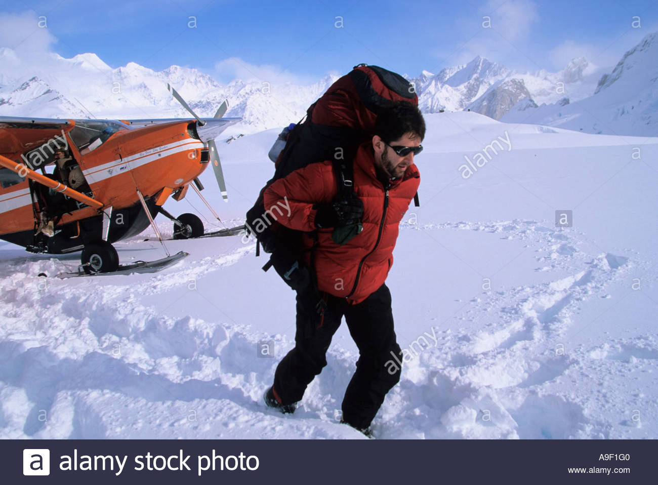 Climber unloading a plane for trip in the Ruth Amphitheater Alaska - Stock Image