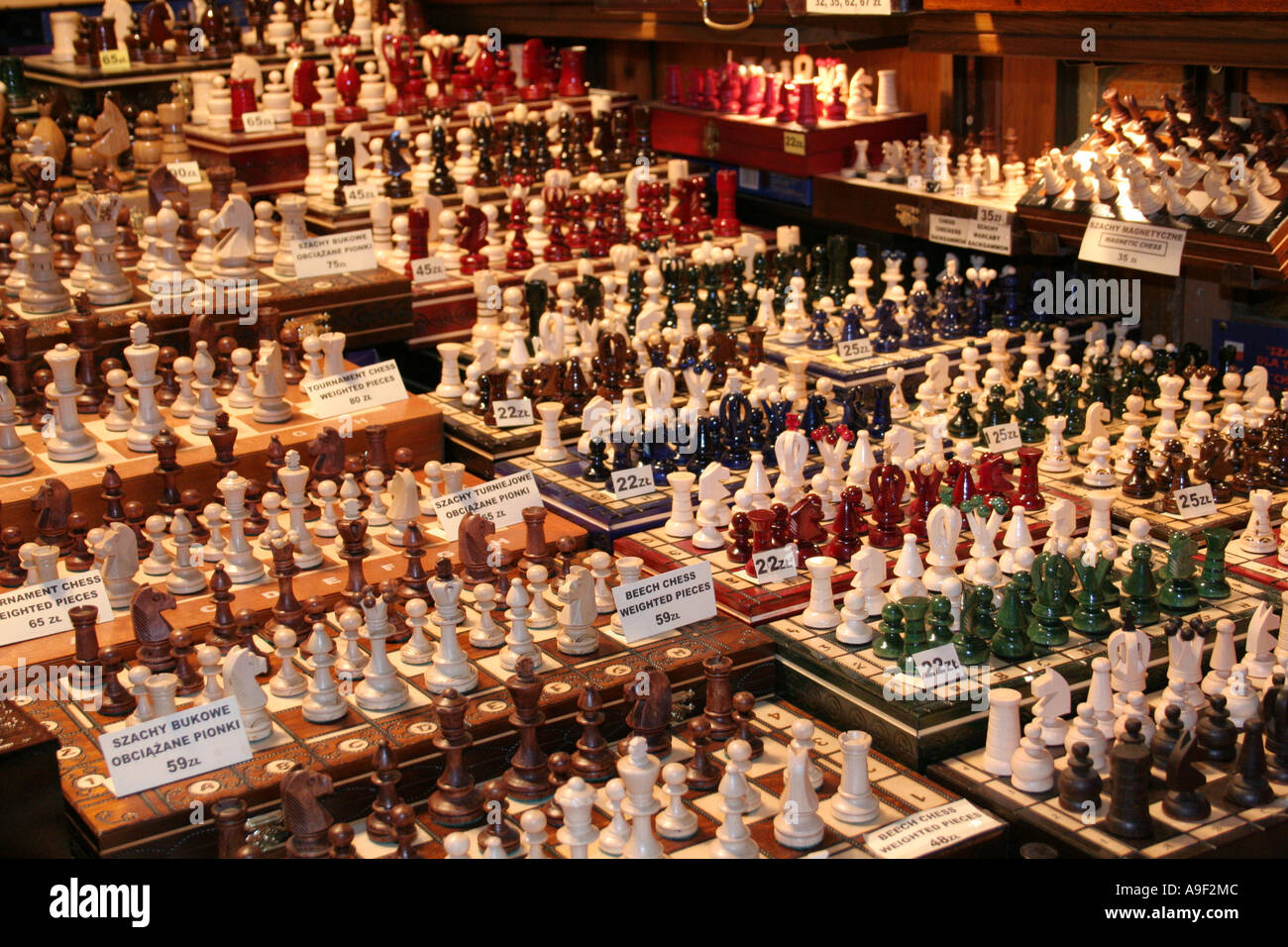 Chess pieces for sale in the Cloth Hall, market, Krakow