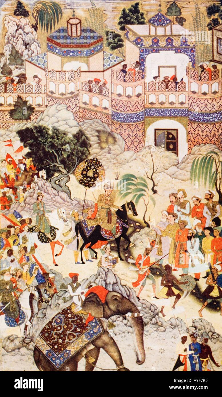 Akbar Khan s entry into Surat 1572 - Stock Image