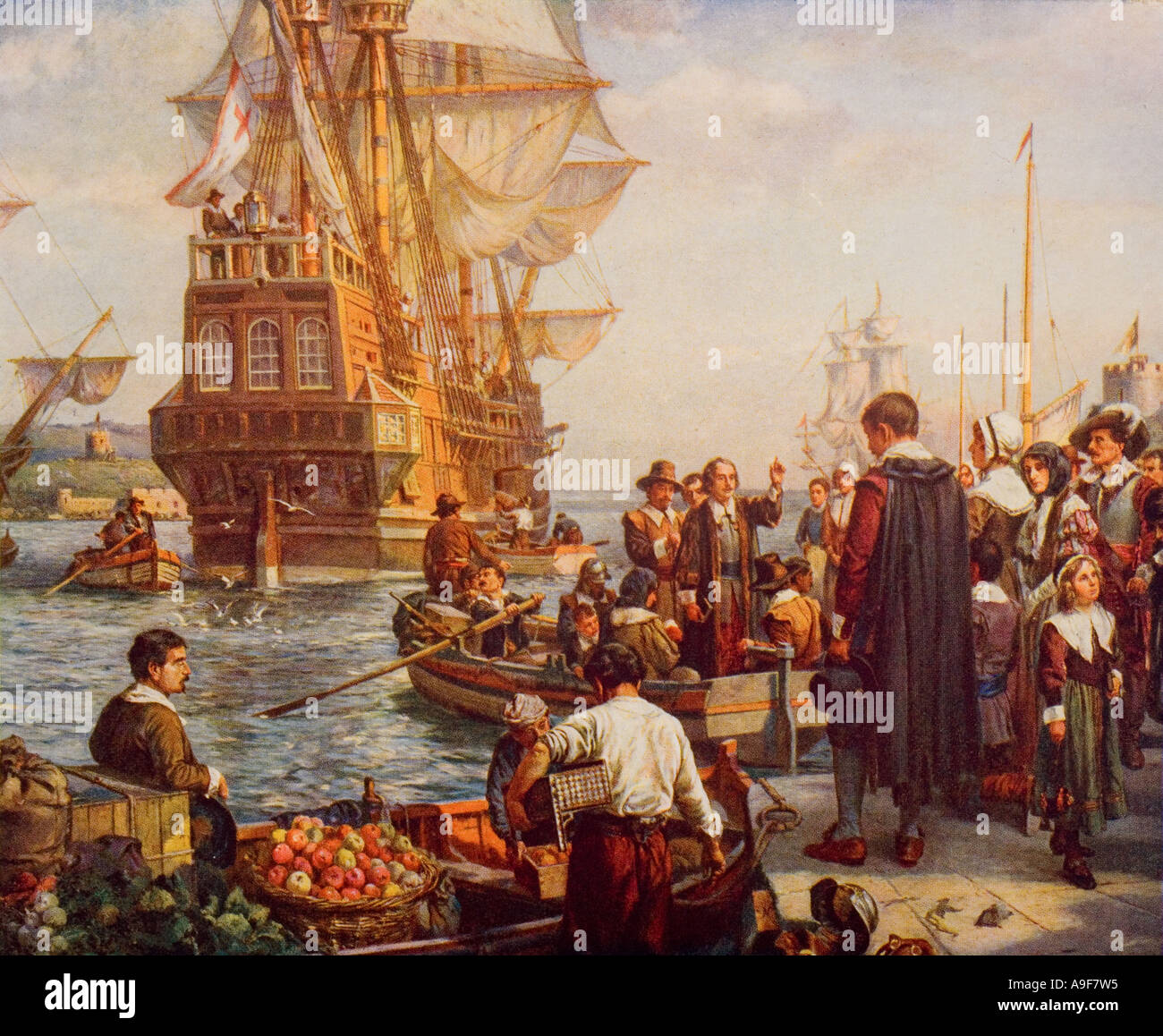 The departure of the Pilgrim Fathers from Plymouth in 1620 - Stock Image