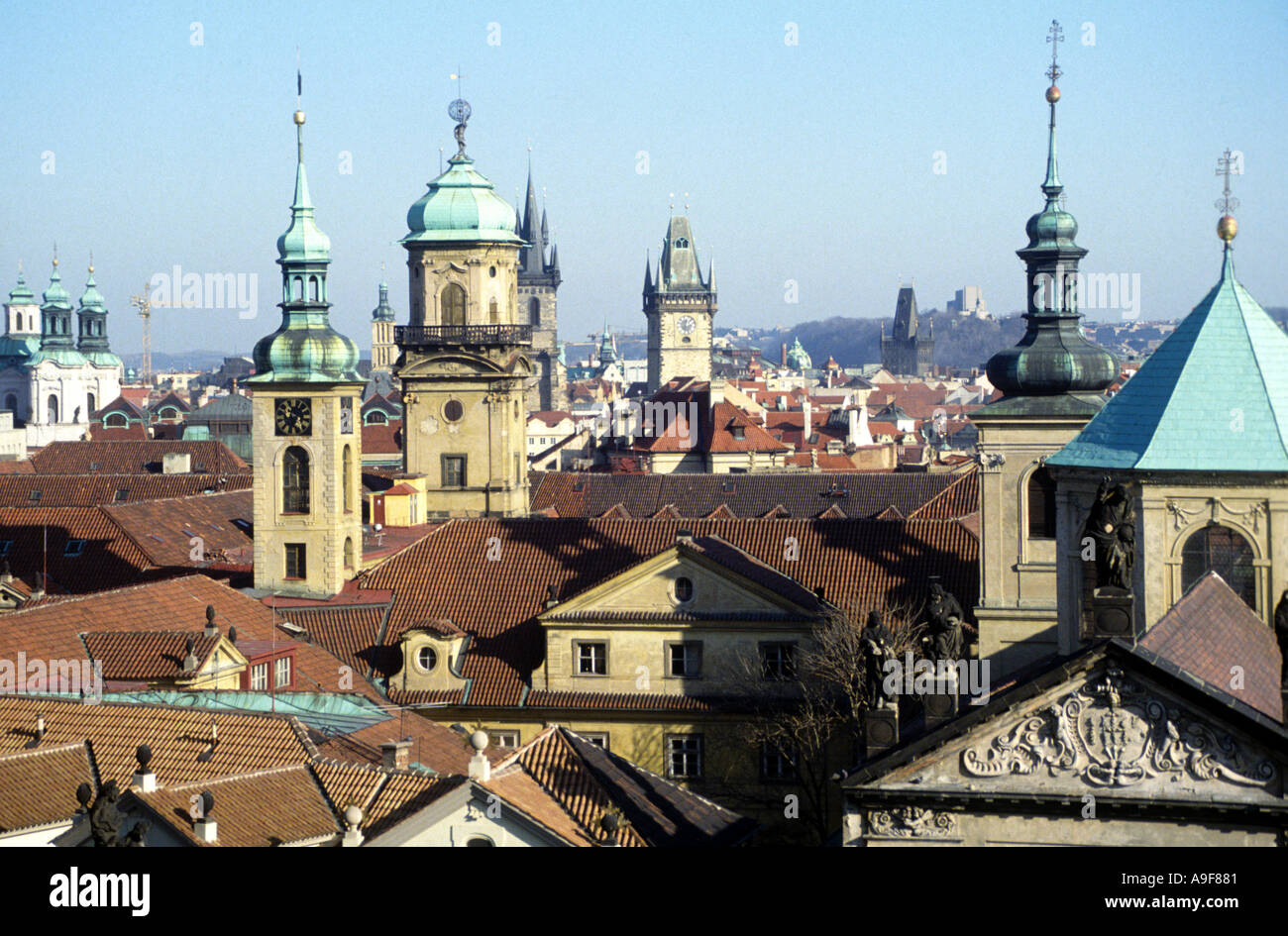 Rooftops spires and cupolas Prague Czech Republic - Stock Image