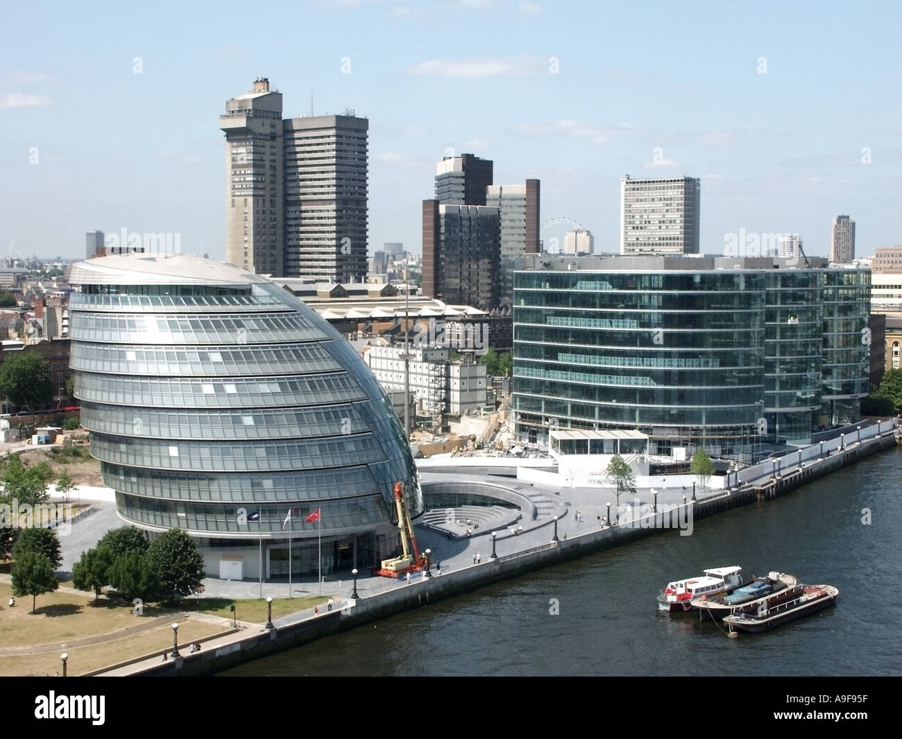Aerial view looking down on City Hall Greater London Authority offices & More London development Guys Hospital tower block Thames Southwark England UK - Stock Image