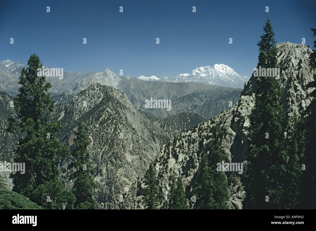 Mountain view towards Afghanistan from Pakistan Kalash valley Chitral North West frontier region Pakistan - Stock Image