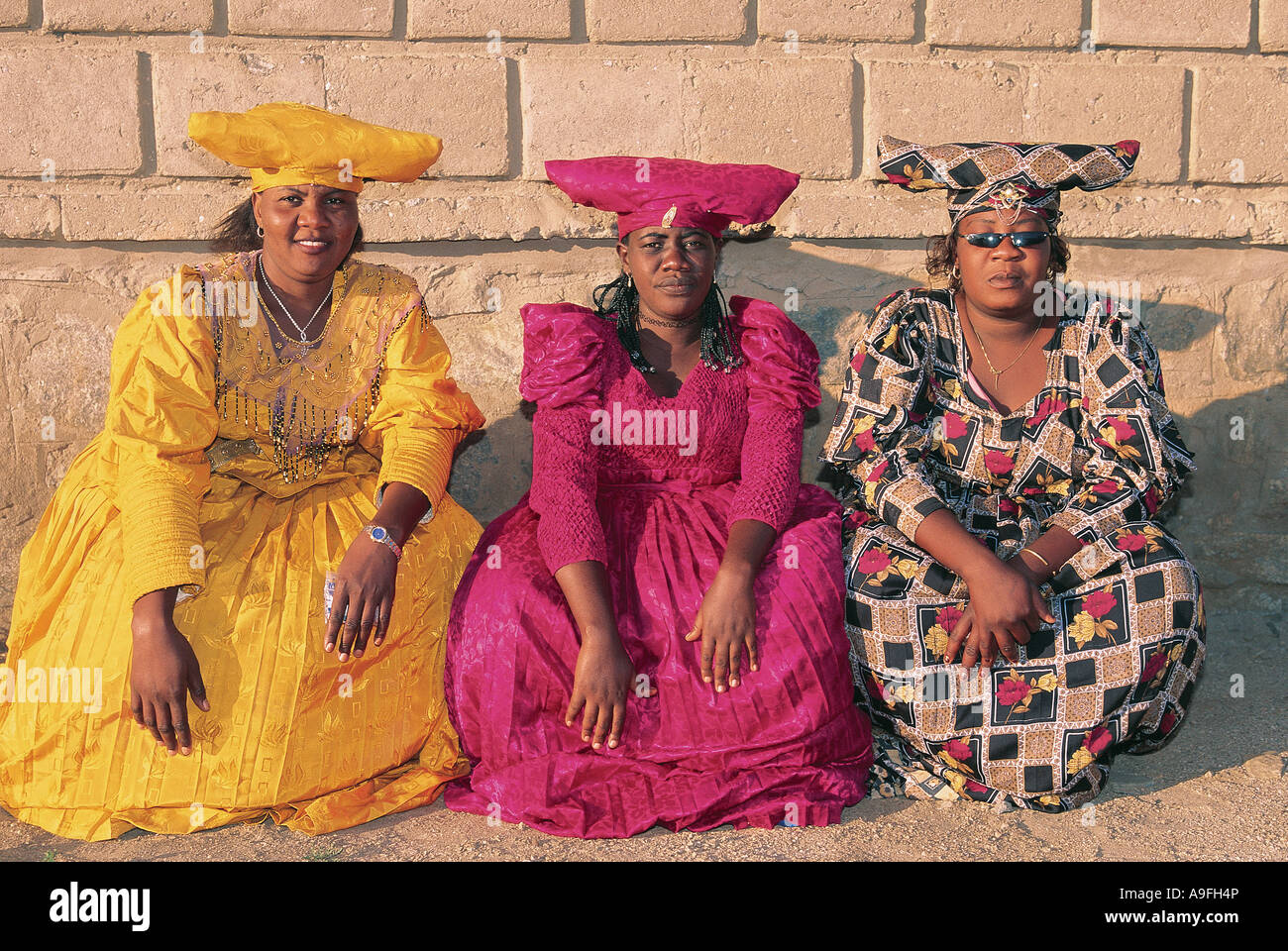 Three Herero Women Luderitz Namibia - Stock Image