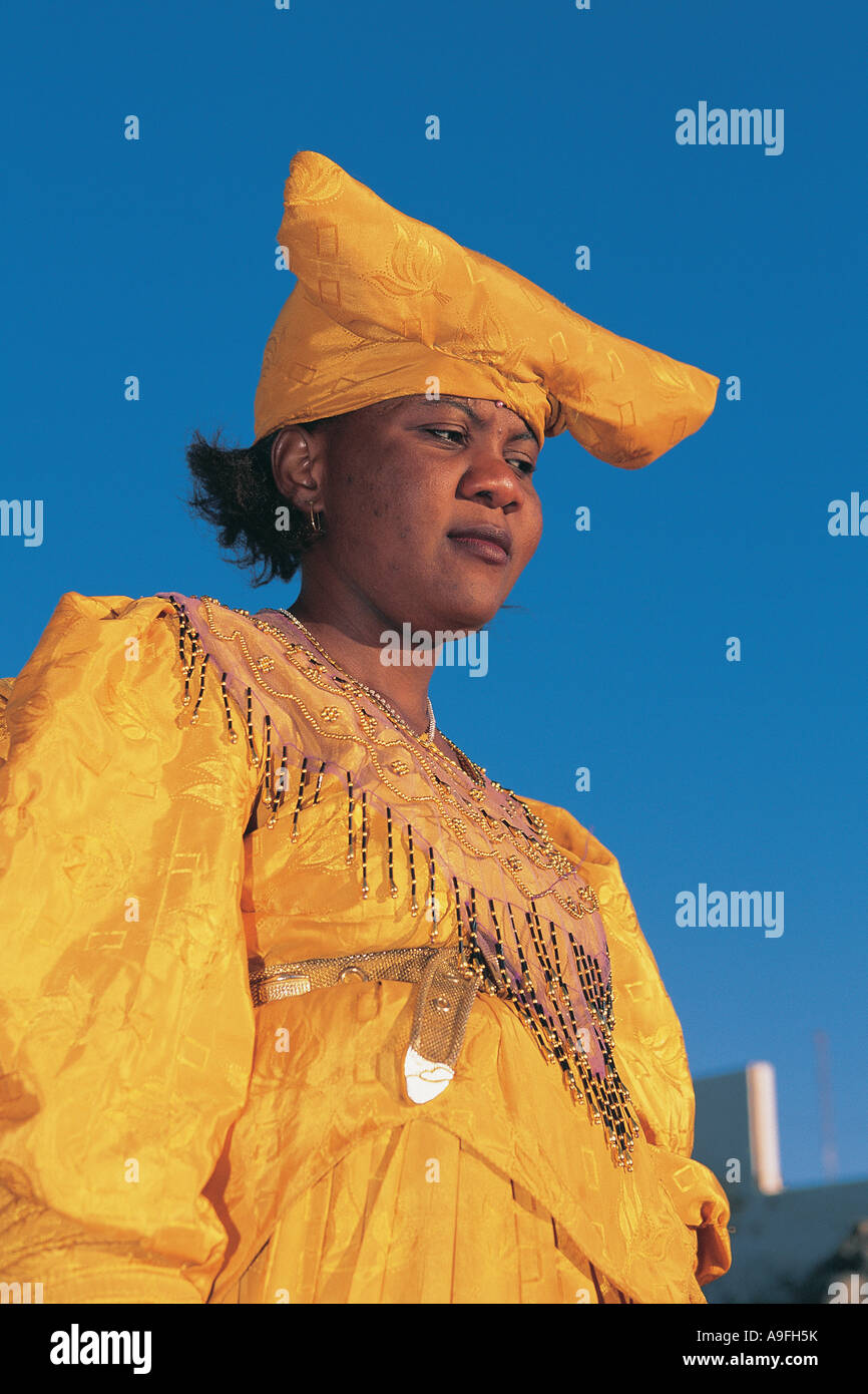 Portrait of Herero woman Luderitz Namibia - Stock Image