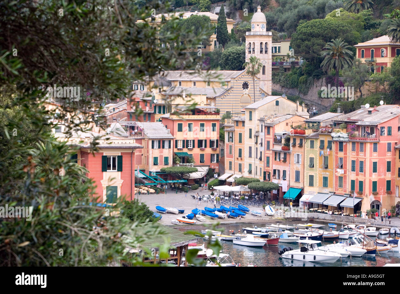 Portofino buildings and sailing vessels Liguria Italy - Stock Image