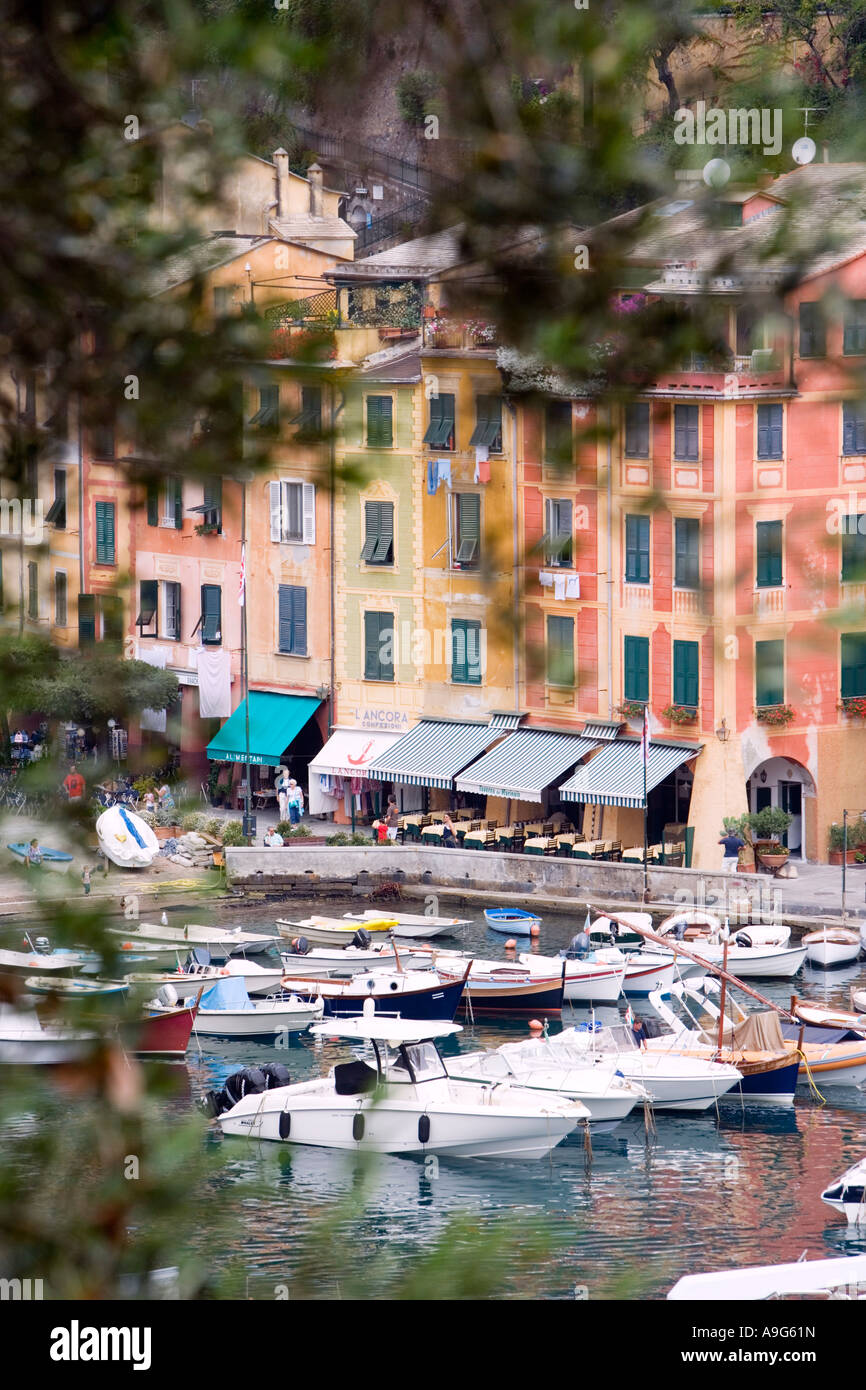 Portofino buildings and sailing vessels Liguria Italy - Stock Image