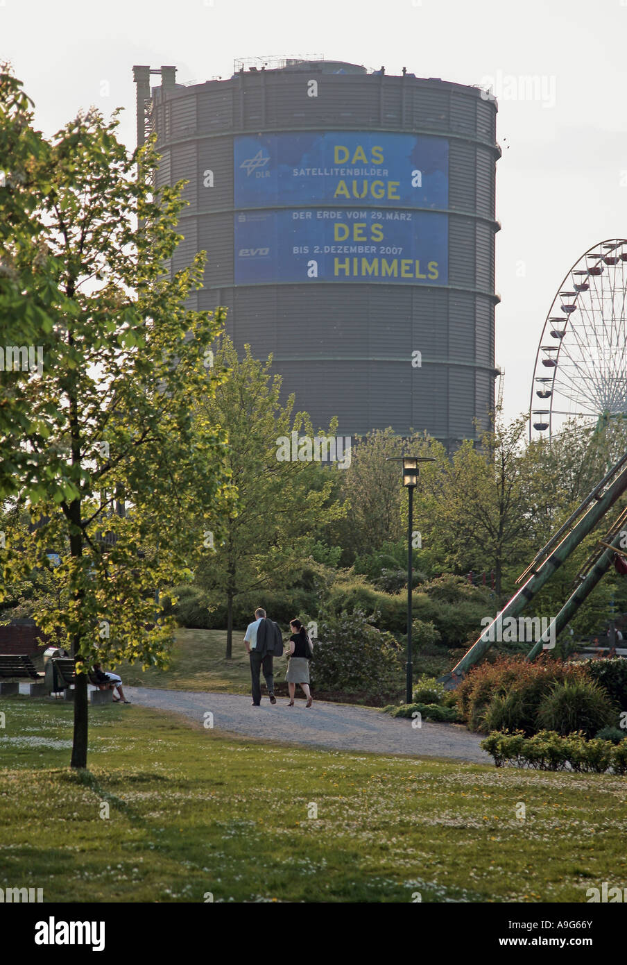 view from the park of the CentrO to the Gasometer, Germany, North Rhine-Westphalia, Ruhr Area, Oberhausen Stock Photo