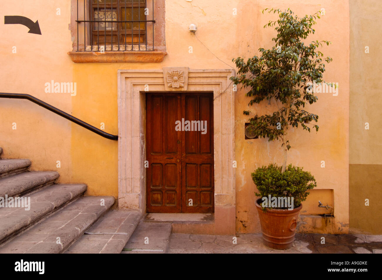Wooden doorway stone frame and decorative plant Zacatecas city Stock ...