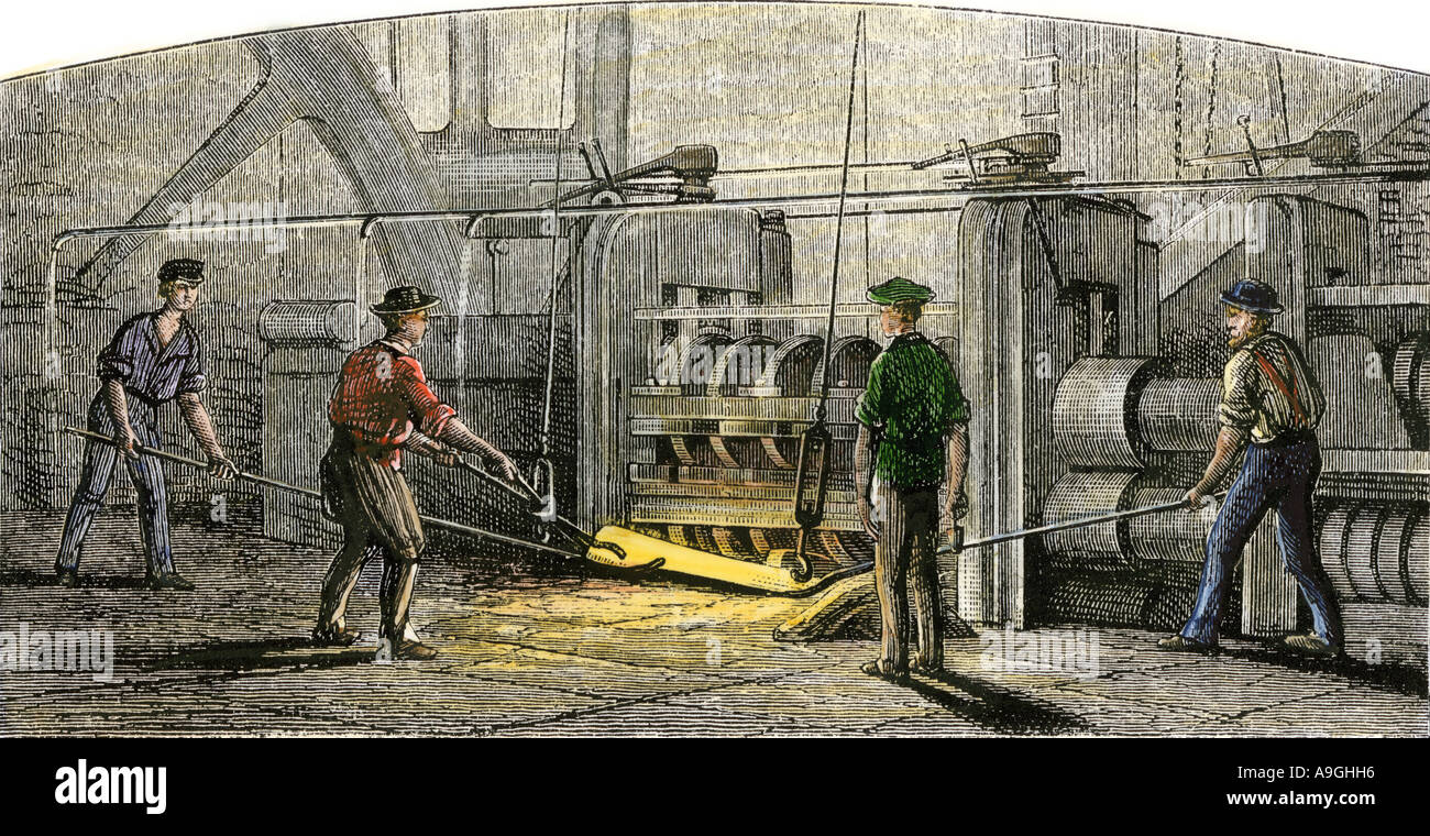 Vulcan Iron Works in Carondelet, Missouri in the mid 1800s. Hand-colored woodcut - Stock Image