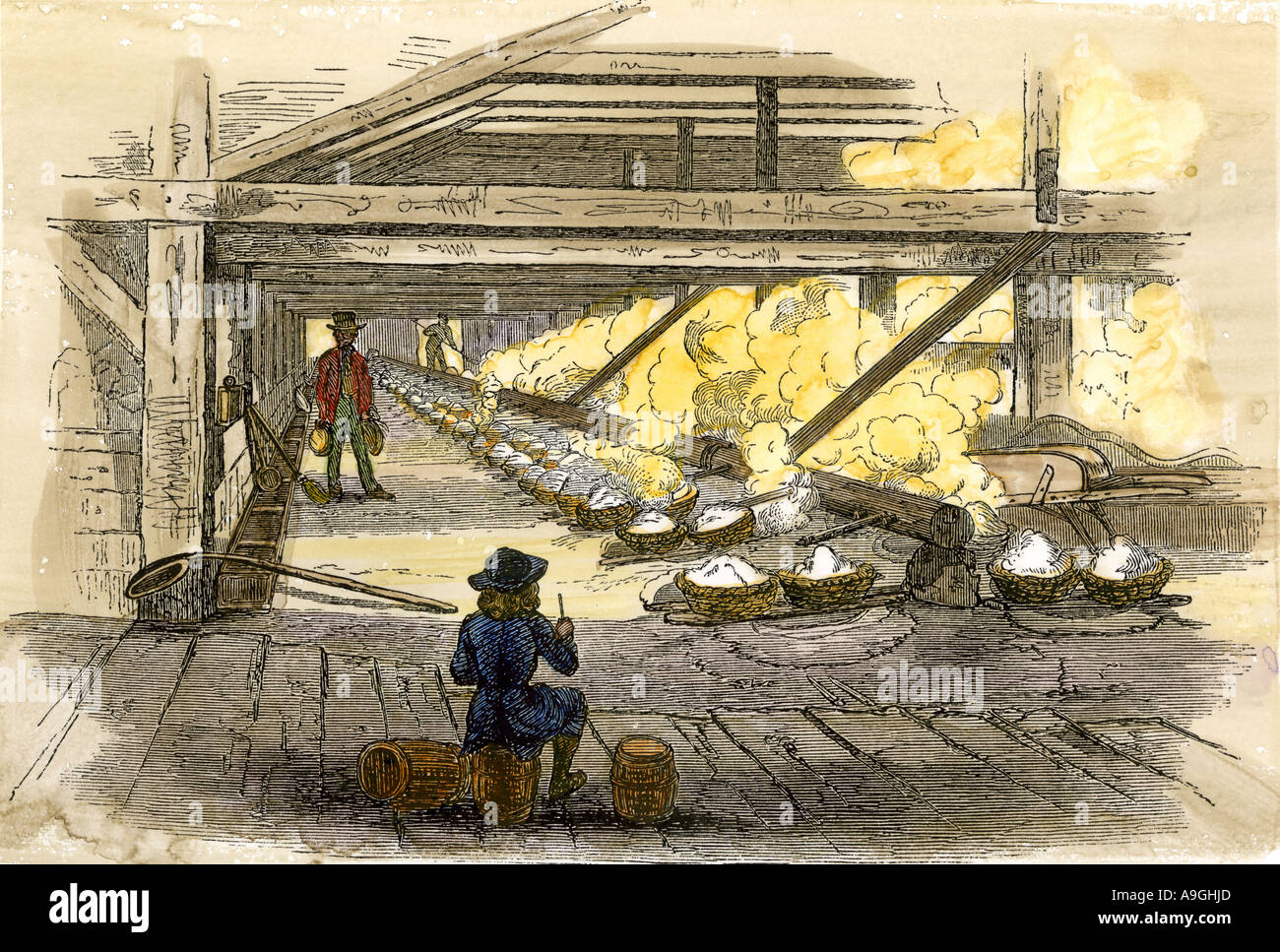 Interior view of the salt works in West Virginia 1850s. Hand-colored woodcut - Stock Image