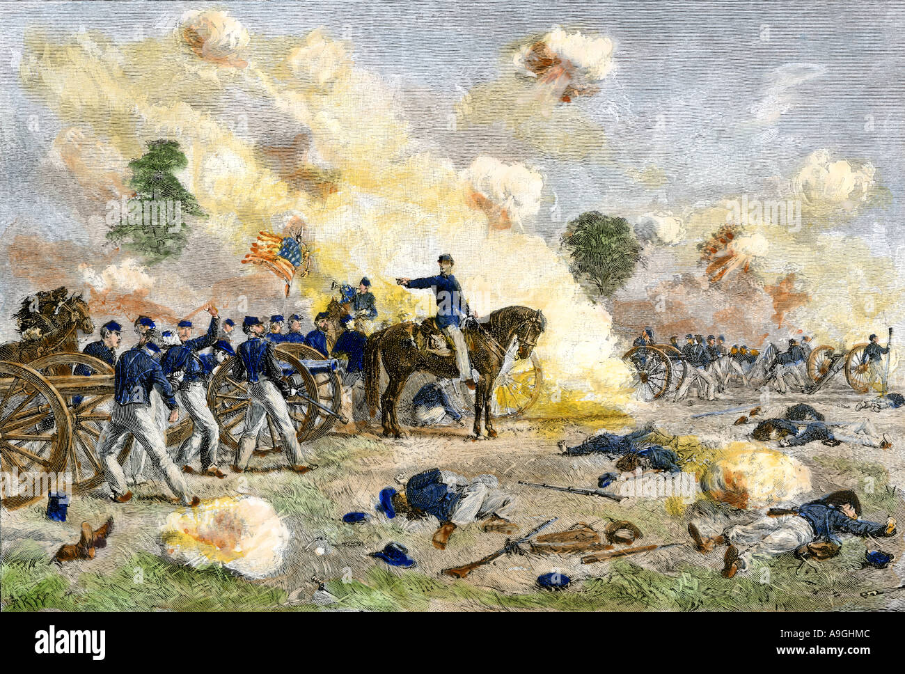 Fourth US artillery under Lt. Bayard Wilkeson firing from an exposed position during the Battle of Gettysburg 1863. Hand-colored woodcut - Stock Image