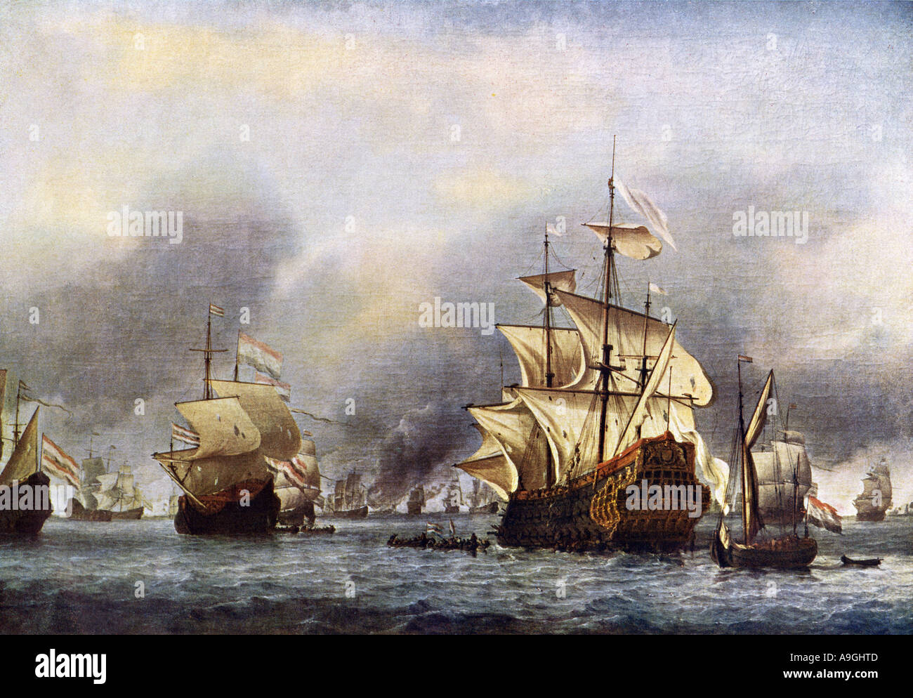 Sea fight between England and Holland June 1666. Color halftone of a painting Stock Photo