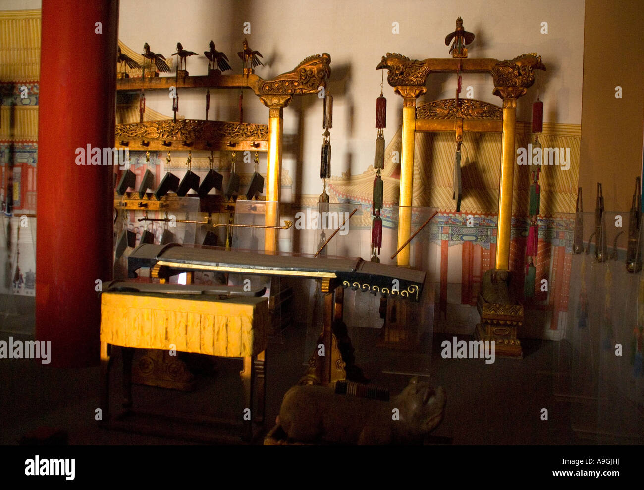 Imperial Palace Museum (Forbidden City) musical instruments on display in Tower of Enhanced Righteousness Hong Yi - Stock Image