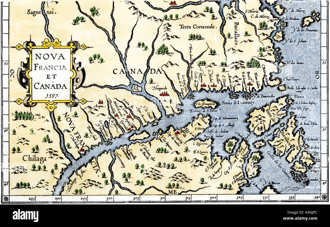 Colored Map Of Canada.Map Of New France And Canada In 1597 Hand Colored Woodcut Stock