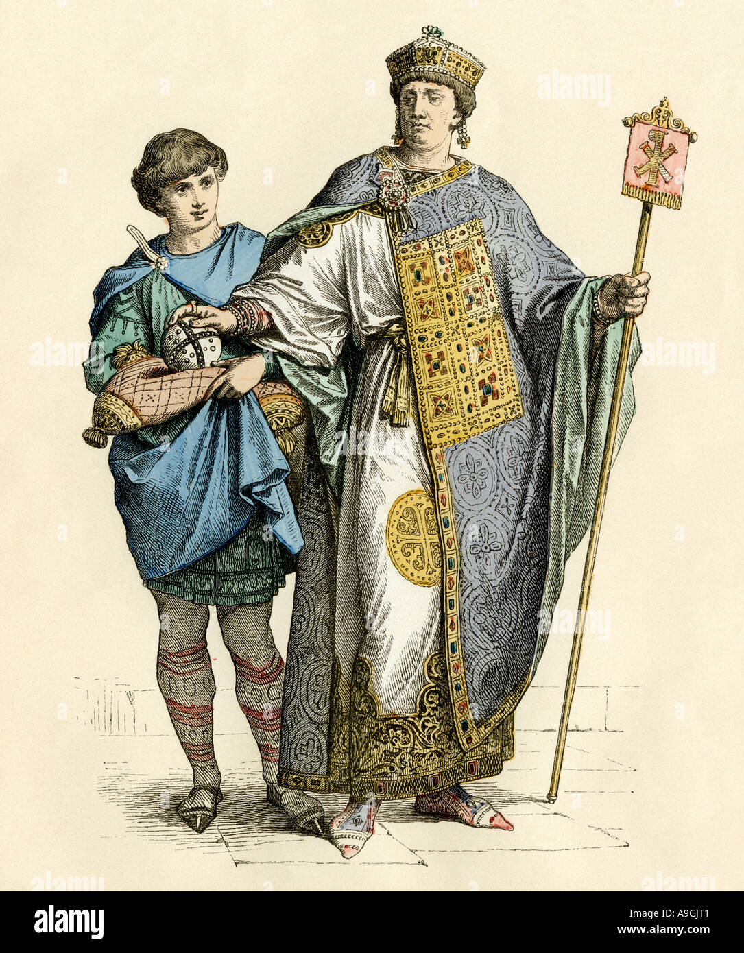 Byzantine emperor and his attendant. Hand-colored print - Stock Image