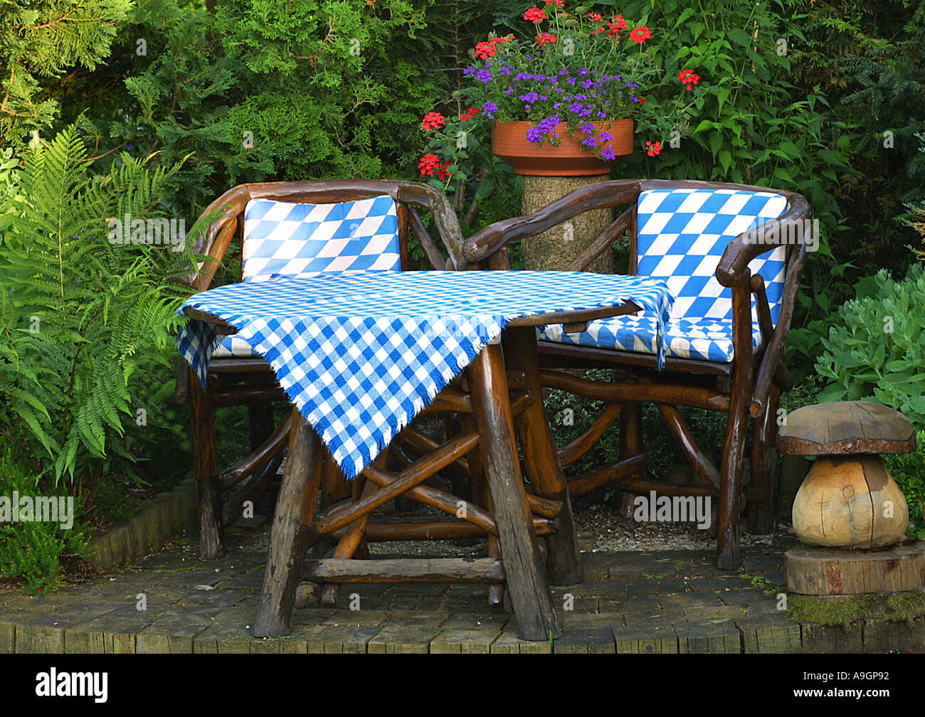 Seat, Two Garden Chairs With Garden Table, Chair Cushion And Tablecloth In  Bavarian Blue White