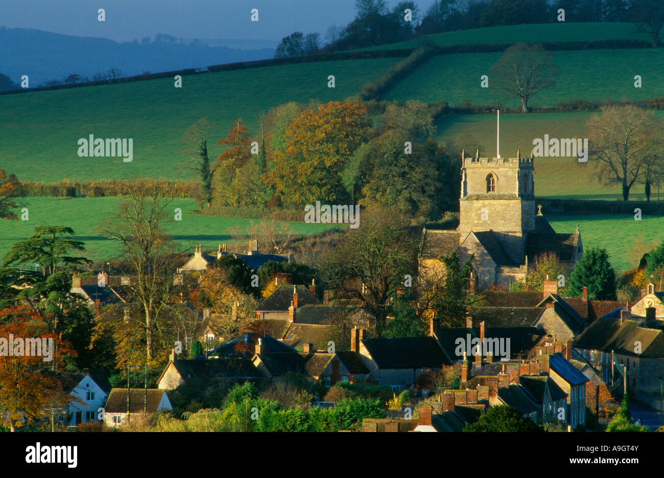 houses and the church in the village of Milborne Port nr Sherborne Somerset England UK Stock Photo