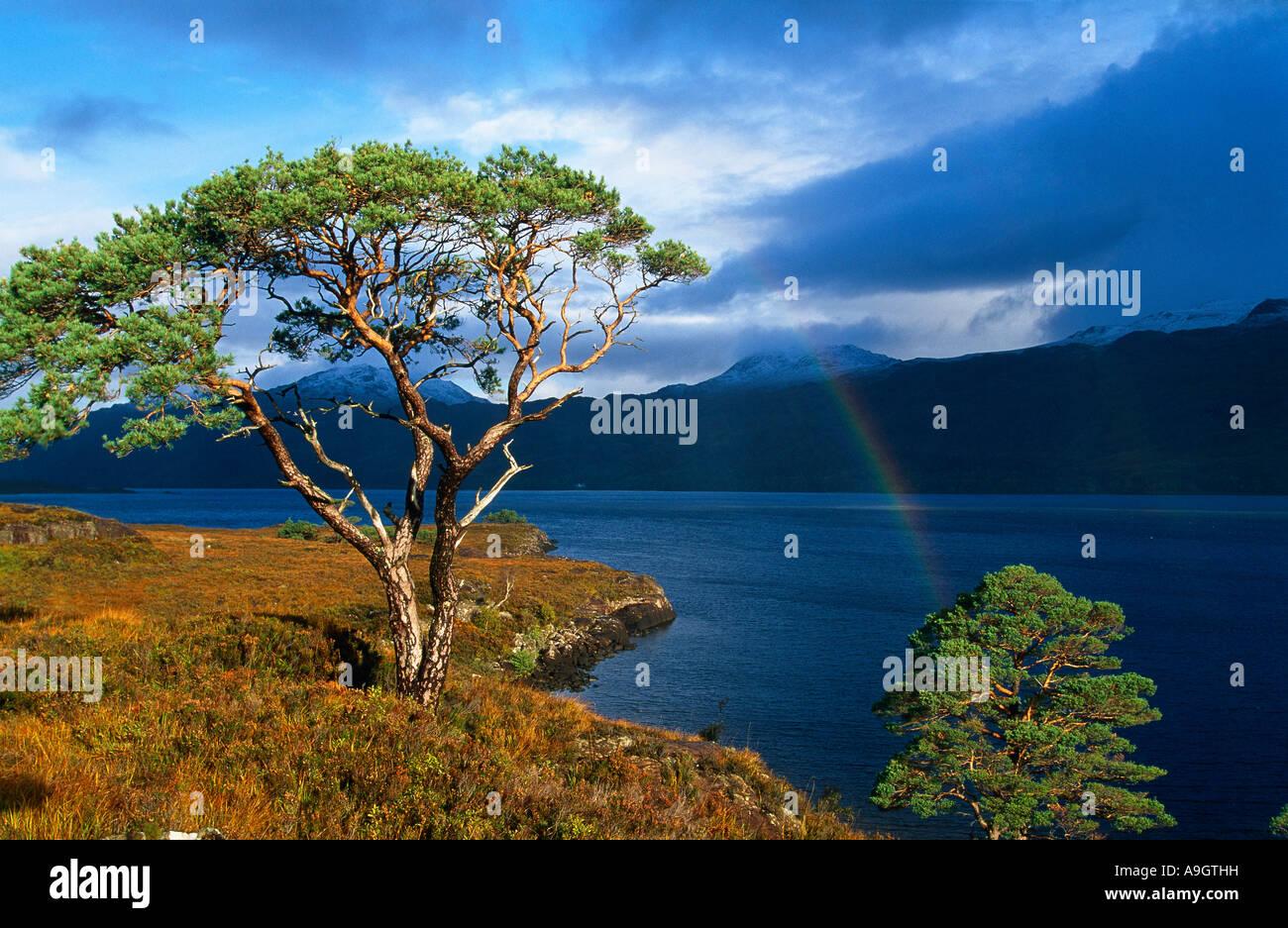 Loch Maree with rainbow Wester Ross Scotland UK - Stock Image
