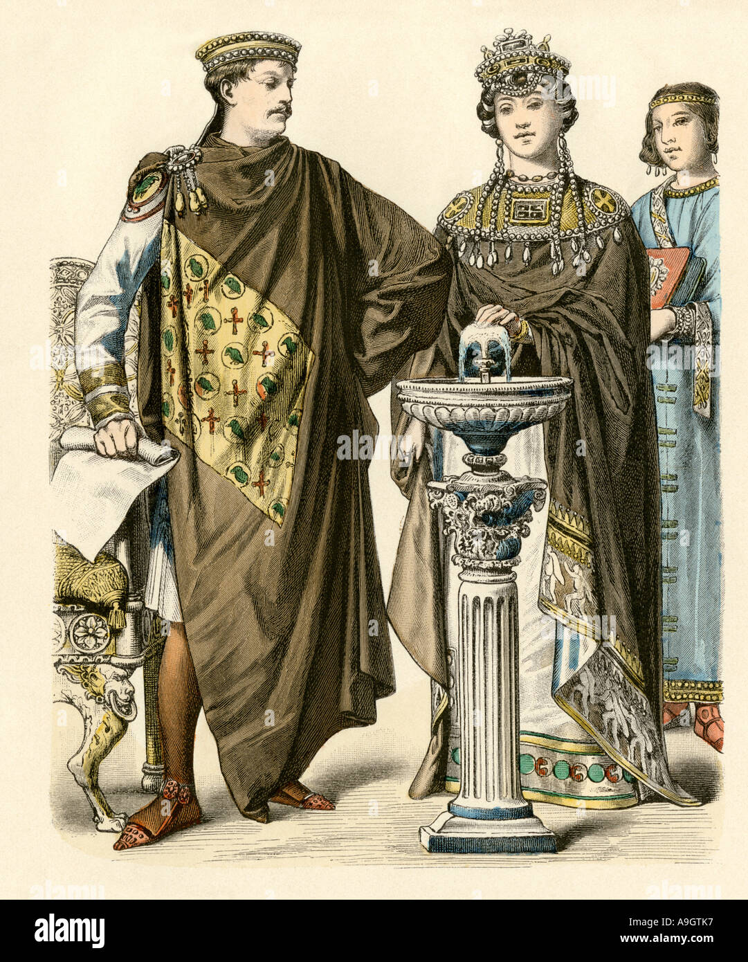 Emperor Justinian with Empress Theodora of the Eastern Roman Empire 500s AD. Hand-colored print - Stock Image