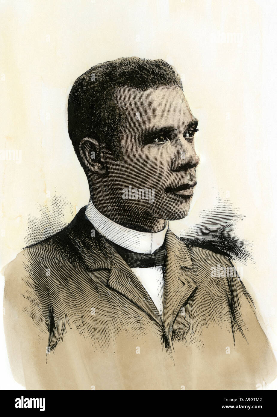 Booker T Washington president of Tuskegee Normal School 1890s. Hand-colored woodcut - Stock Image