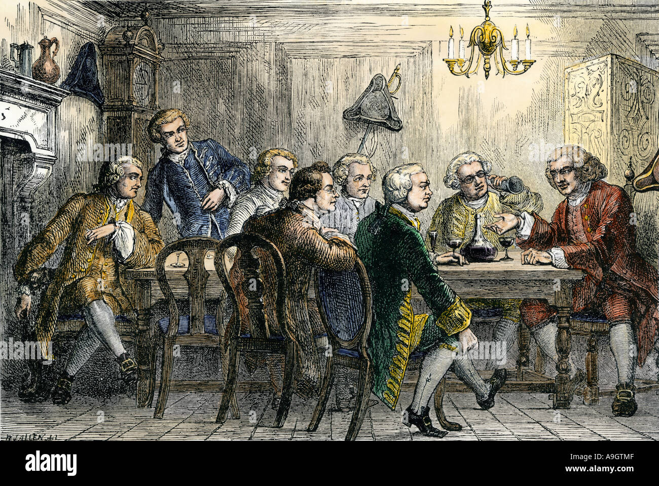 Samuel Johnson and James Boswell at the Literary Club in London 1700s. Hand-colored woodcut - Stock Image