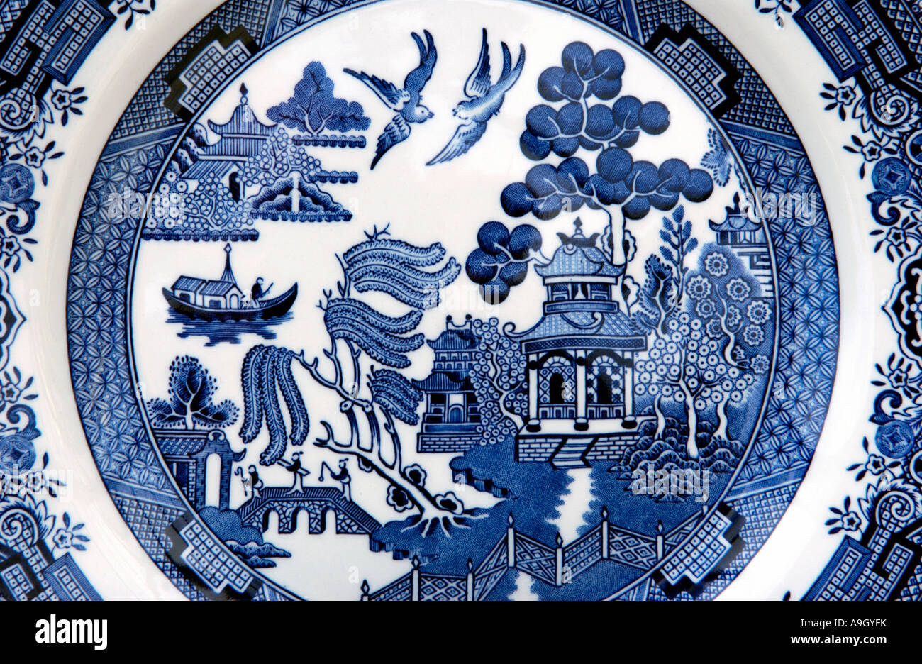 Traditional Willow Pattern design on an English blue and white style china dinner plate. & Traditional Willow Pattern design on an English blue and white style ...