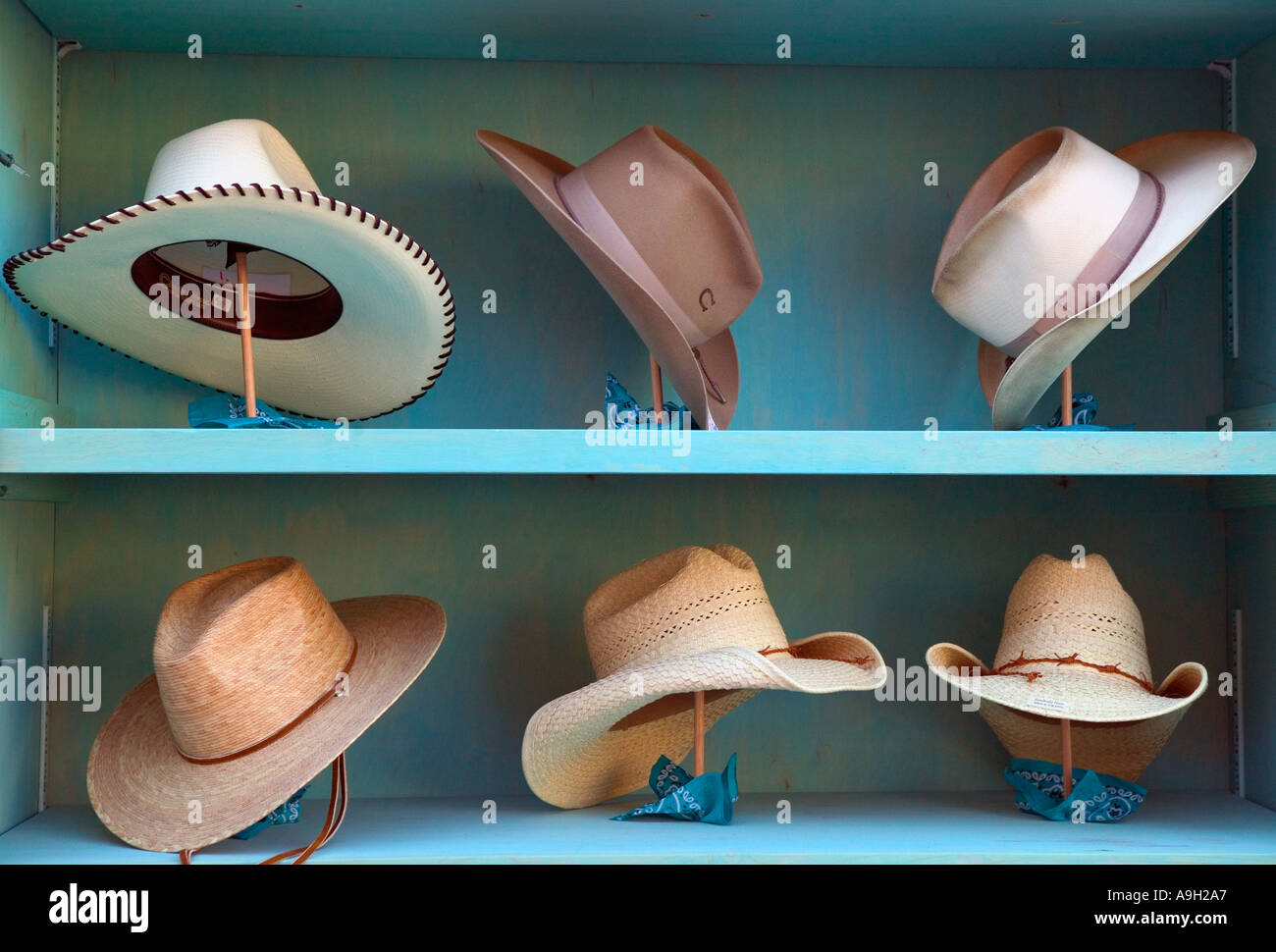 Cowboy hats, Santa Fe, New Mexico, USA - Stock Image