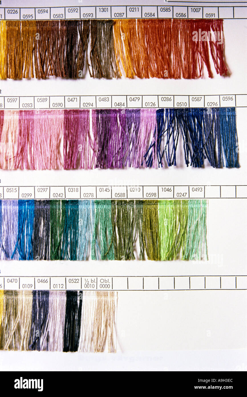 Sample chart of different coloured yarns  Stock Photo