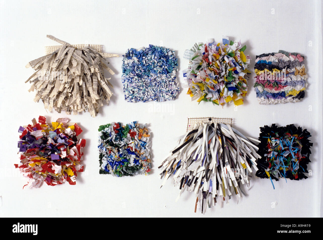 c008d93d2fb4fb Sample rugs made from recycled waste paper and rags by Gerry Copp. - Stock  Image