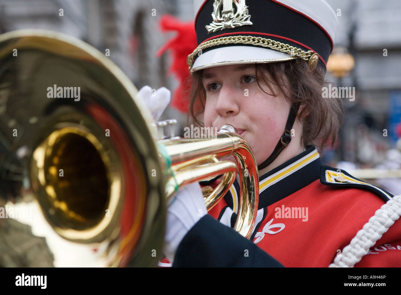Member of a High School Marching Band performing at the London New Year's Day Parade 2007 - Stock Image