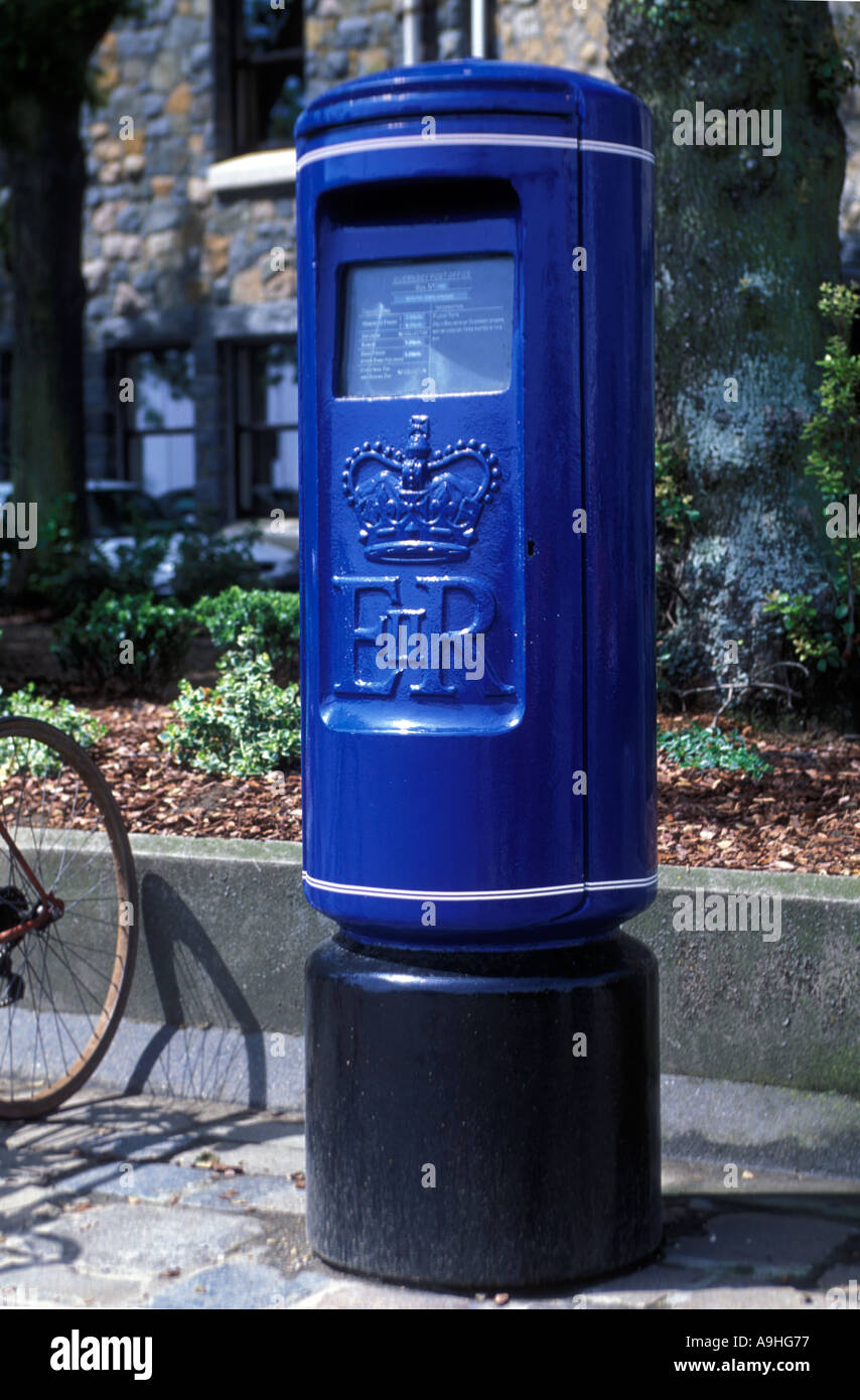 A blue post box in Guernsey Channel Islands Stock Photo: 4037750 - Alamy
