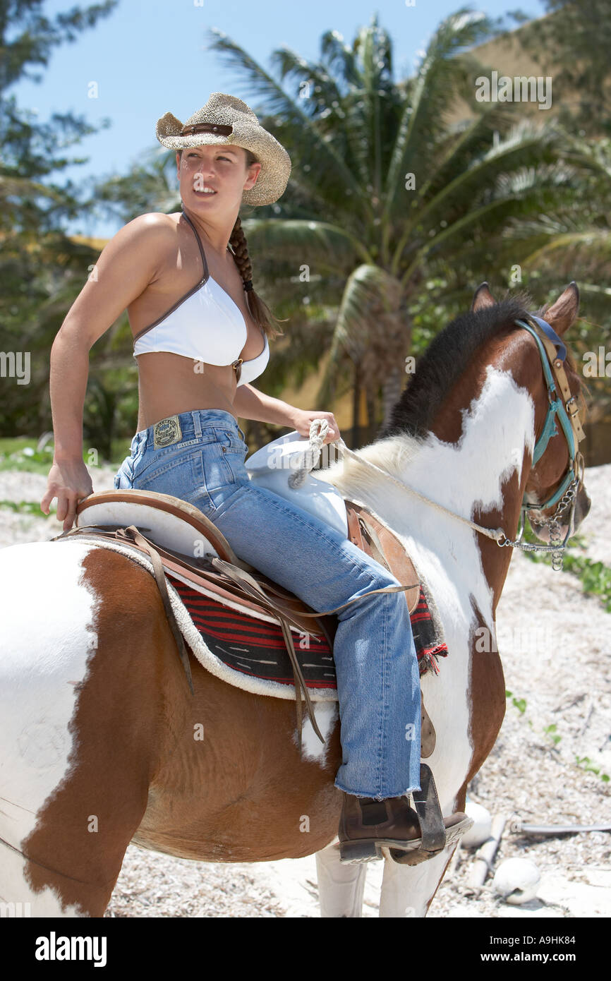 Horseback riding on Northwest side of Cozumel Mexico - Stock Image