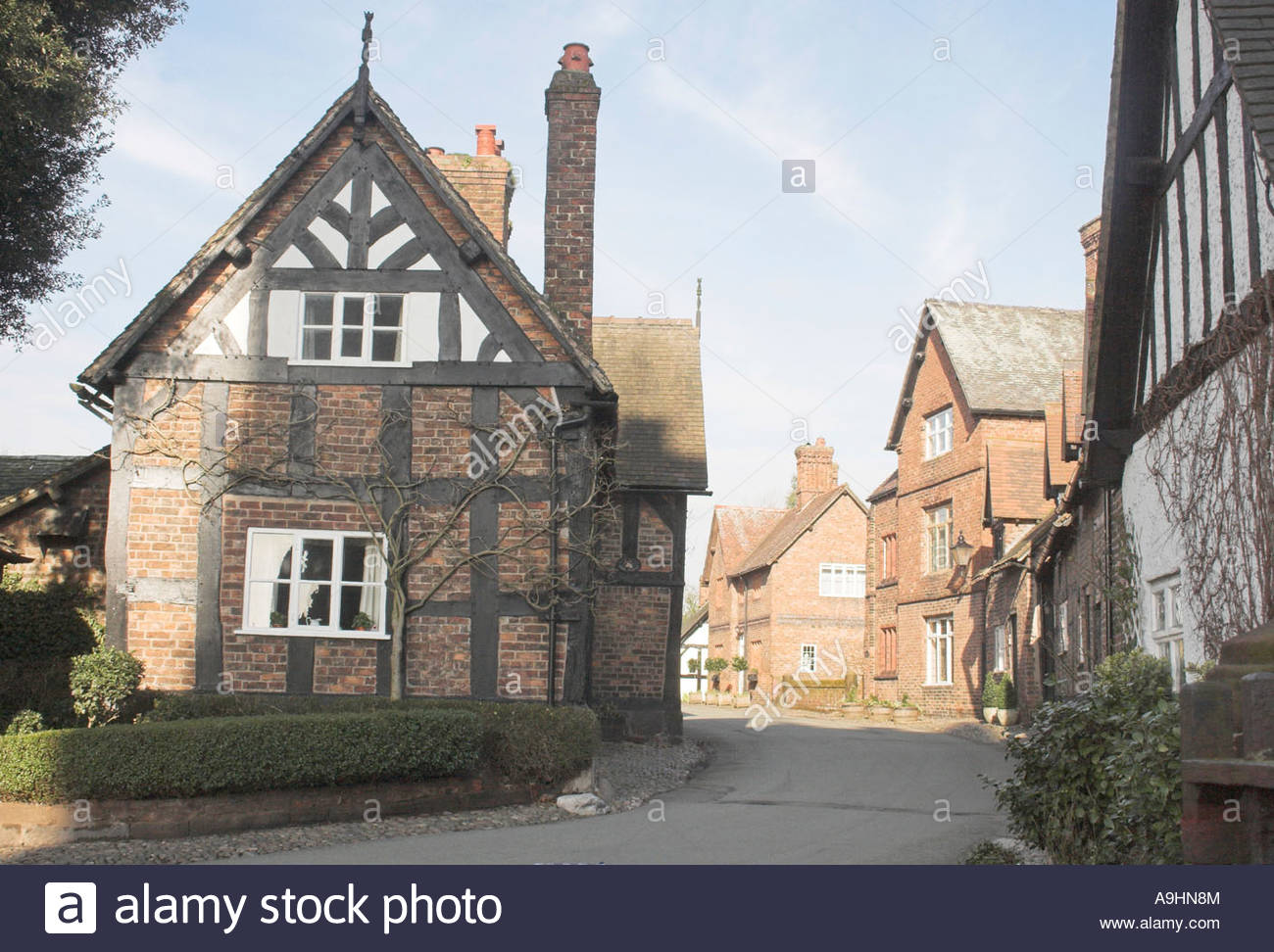 View of Church Street, Great Budworth Village, Cheshire, Engand Stock Photo