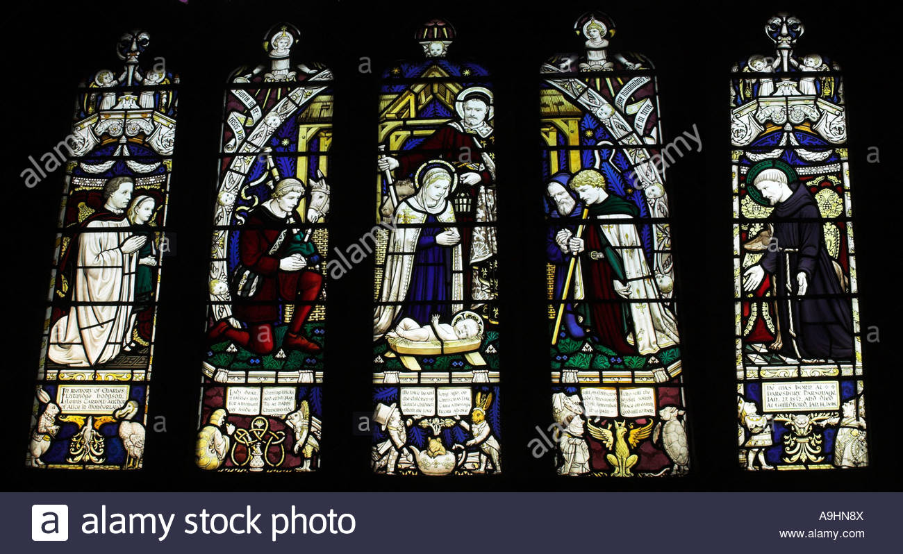 Detail of Lewis Carroll commemorative stained glass window All Saints Church Daresbury Cheshire - Stock Image