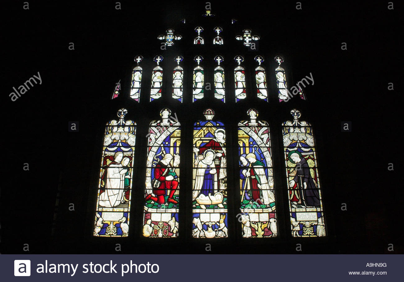 Stained glass window commemorating Lewis Carroll, All Saints Church, Daresbury, Cheshire. Alice in Wonderland Church, - Stock Image