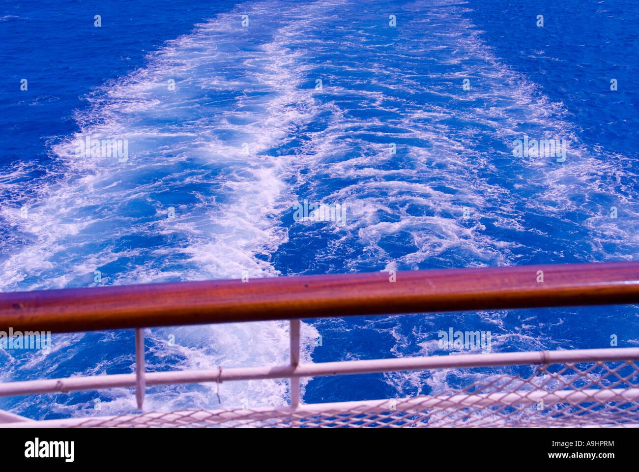 Cruise ship wake railing wake Blue green water color ideal ...