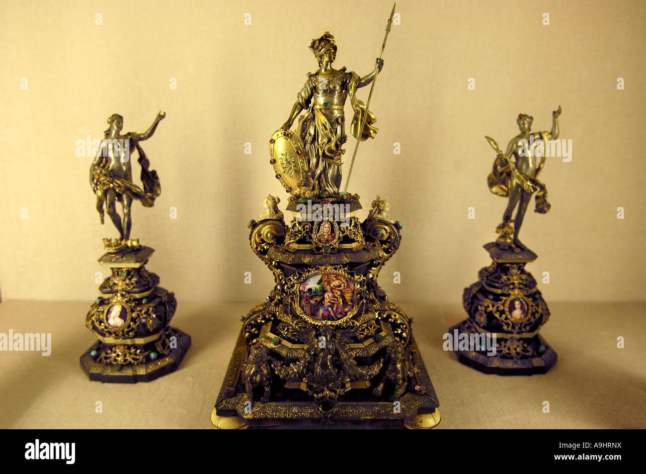 Little golden figurines, Residenz, treasury, Munich, Bavaria, Germany - Stock Image