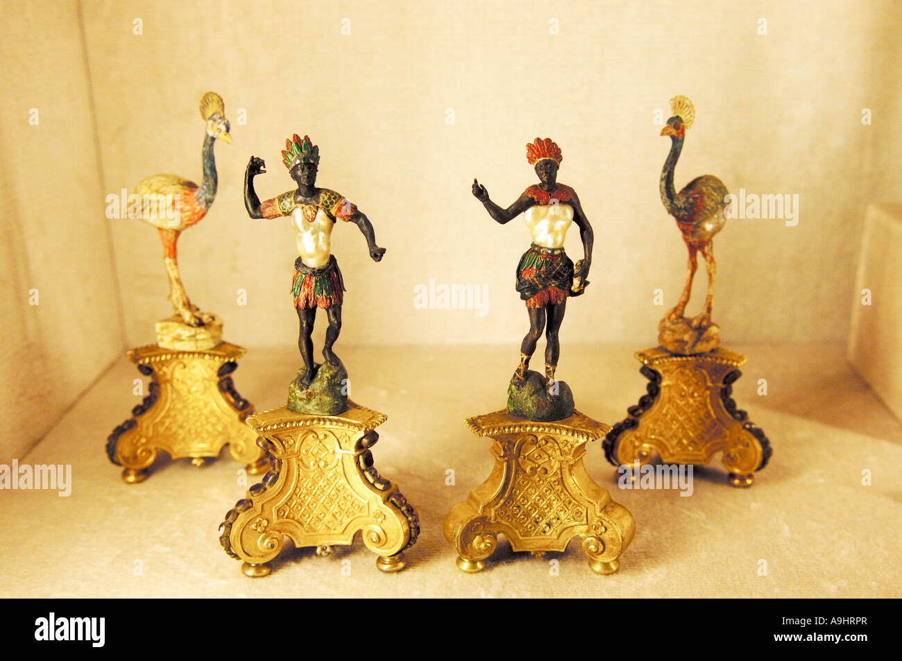 Figurines, treasury of the Residenz, Munich, Bavaria, Germany - Stock Image