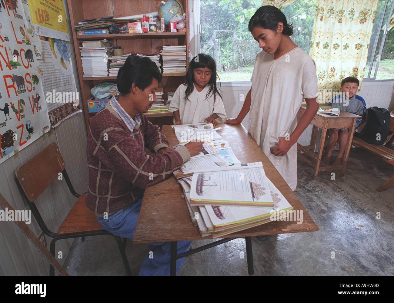 Mexico, Chiapas, Naha, Selva Lacandona, North America. Lacandon Mayan children in secondary school. - Stock Image