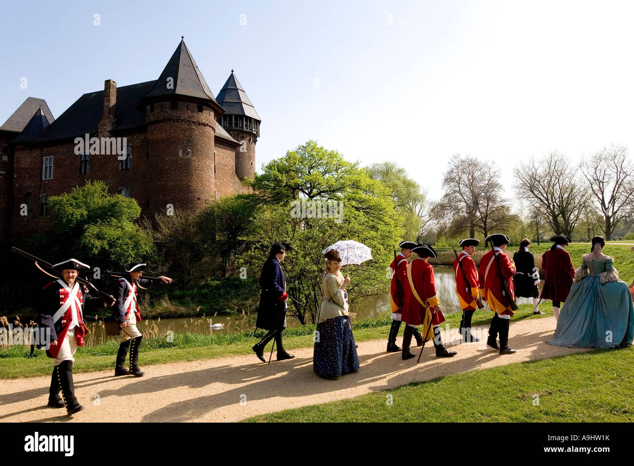 Get together of the community of interests for historical performance of the 18th century, moated castle Linn, Krefeld, - Stock Image