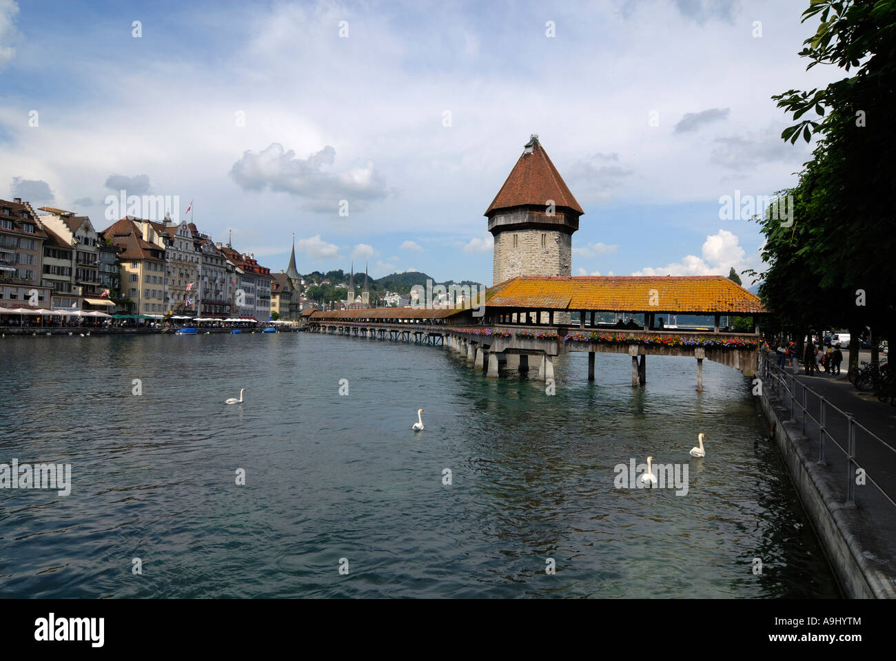 Lucerne - the chappel's Bridge an old part of town - Switzerland, Europe. Stock Photo