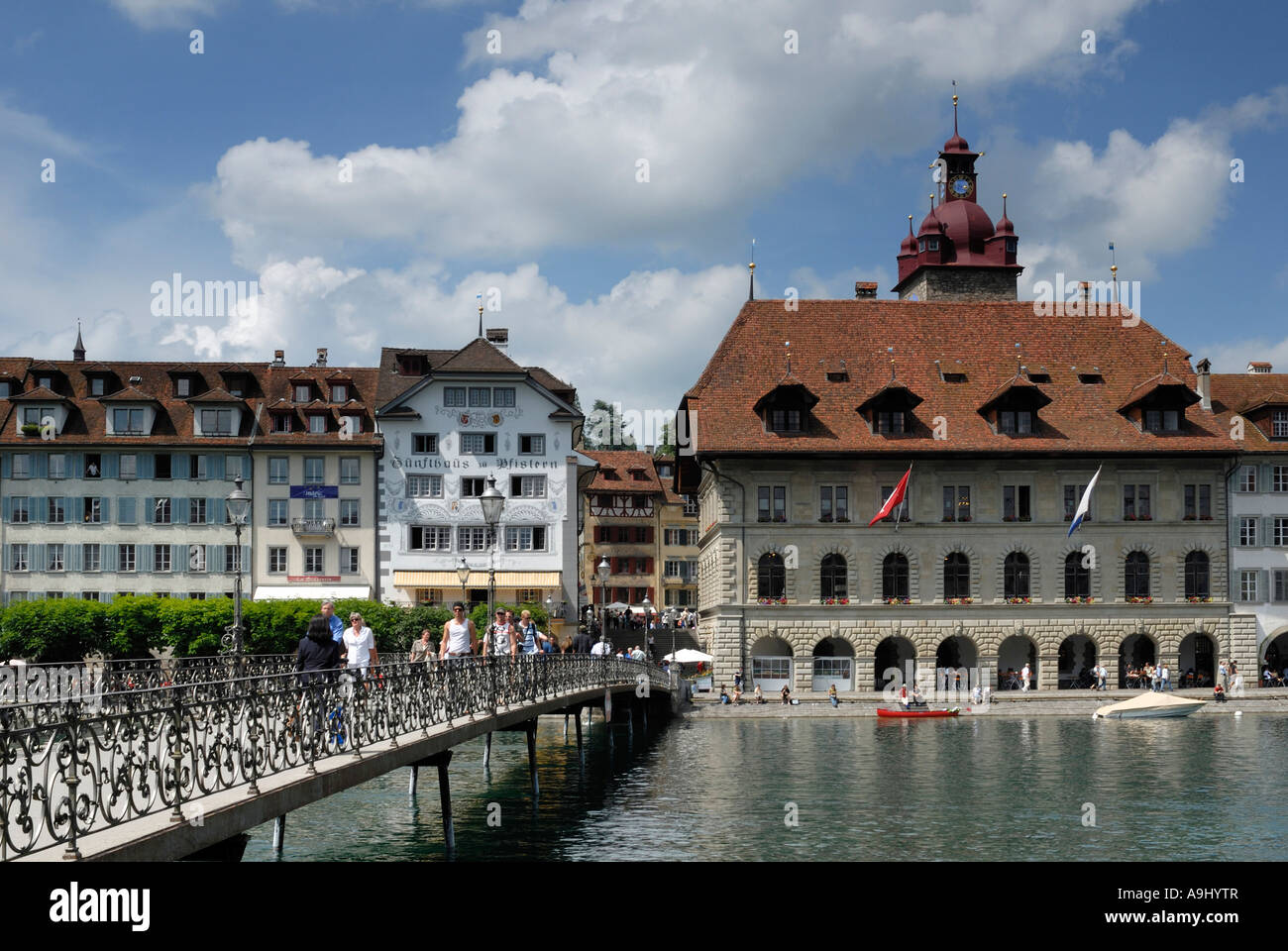 Lucerne - the city hall bridge and old part of town - Switzerland, Europe. Stock Photo