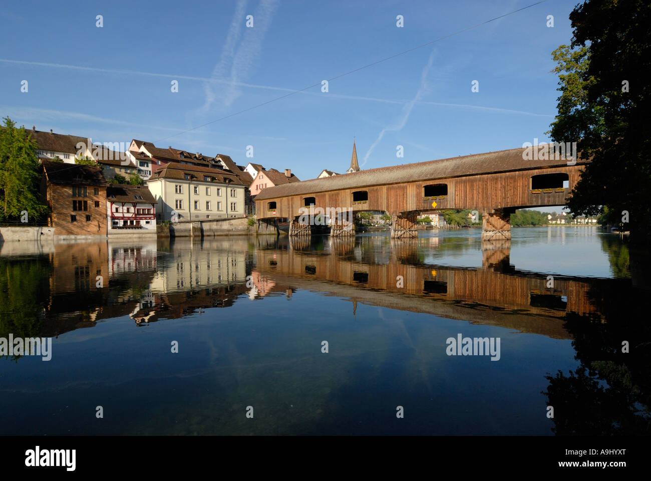 A historyc woodenbridge on the border from germany-switzerland - Baden Wuerttemberg, Germany, Europe. Stock Photo