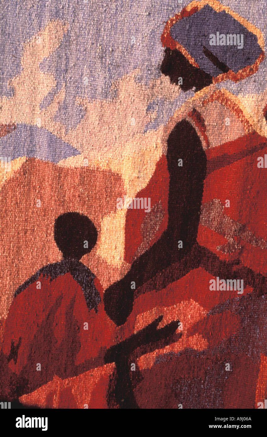 South Africa Basotho Cultural Village Tapestry Weaving - Stock Image