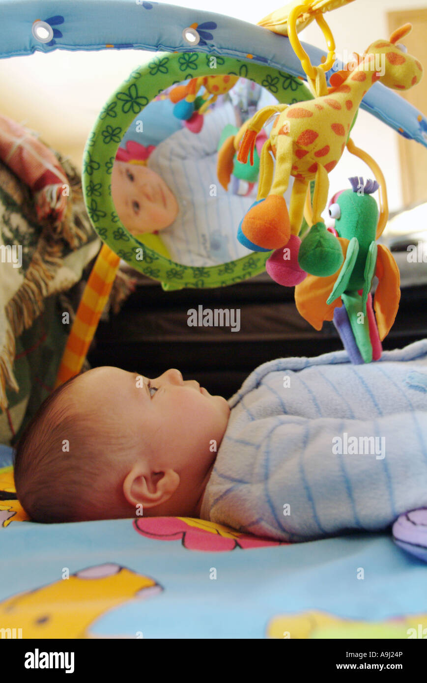 Four 4 Month Old Boy Recognizes Himself In Mirror Of Toy Activity